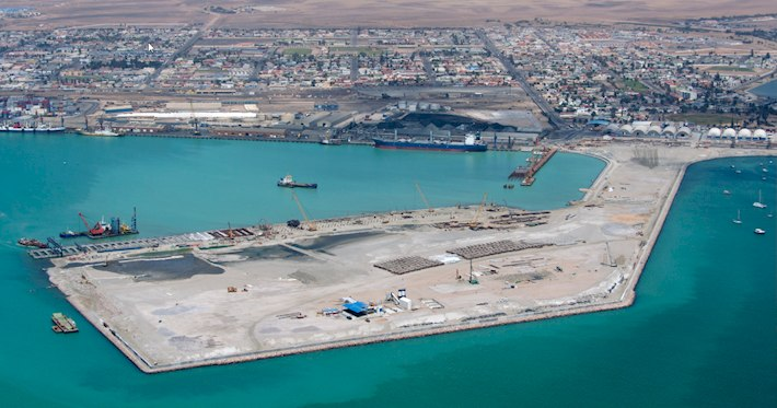 Aerial of Walvis Bay Port expansion projects.